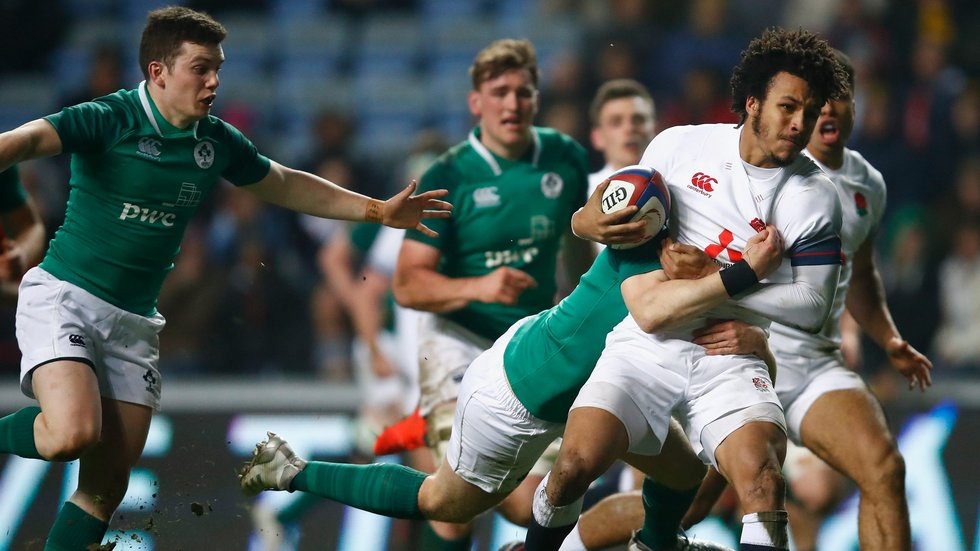 Jordan Olowofela takes on the Ireland defence in the Under-20s international at Coventry