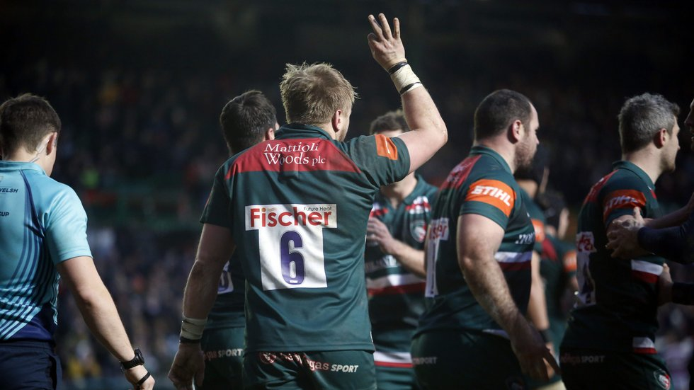Luke Hamilton acknowledges the home support after his try against Cardiff Blues