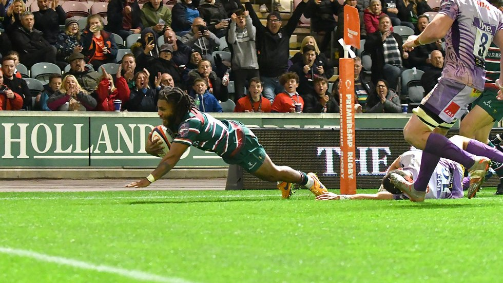 Kyle Eastmond scores the fourth-try, securing a bonus-point in the Premiership Cup clash with Exeter at Welford Road