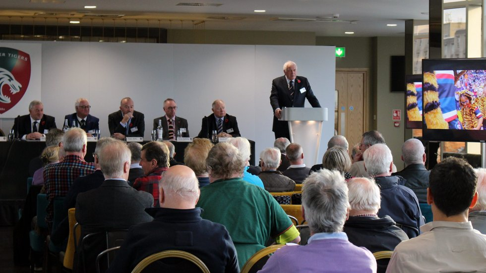 Tigers chairman Peter Tom address the AGM at Welford Road