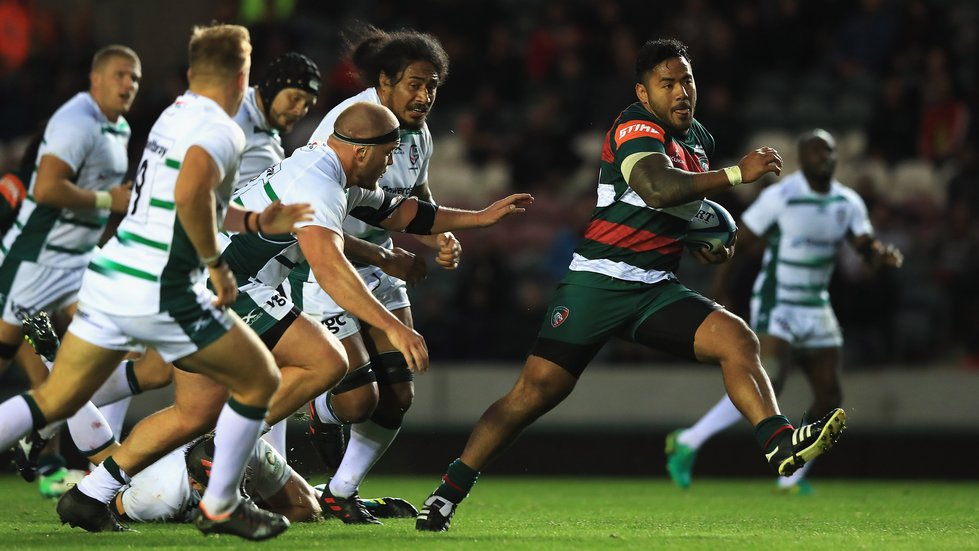 Manu Tuilagi breaks through the London Irish defence during the 2018/19 pre-season fixture at Welford Road